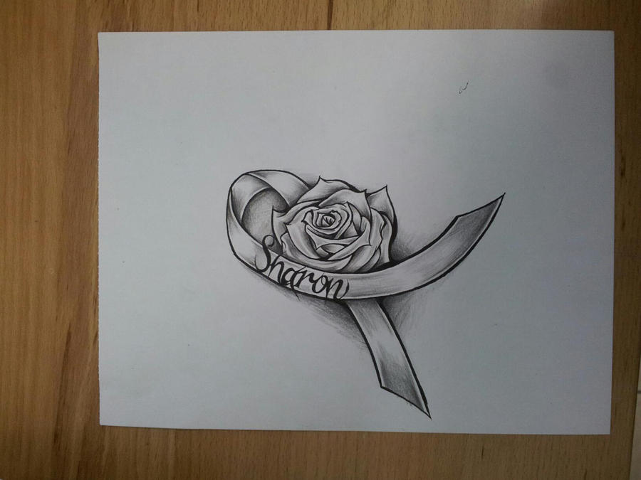Rose and ribbon tattoo cancer rose ribbon by