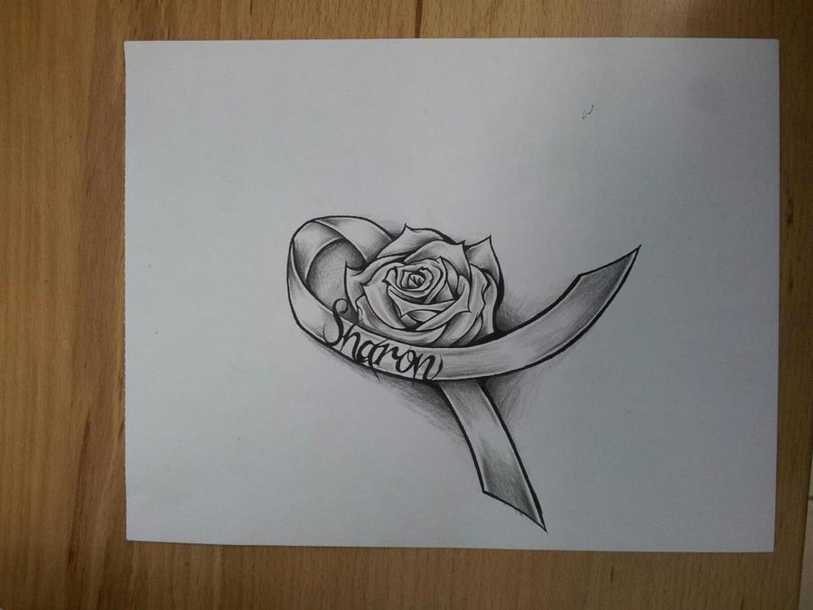 cancer rose ribbon by magnasicparvis on deviantart. Black Bedroom Furniture Sets. Home Design Ideas