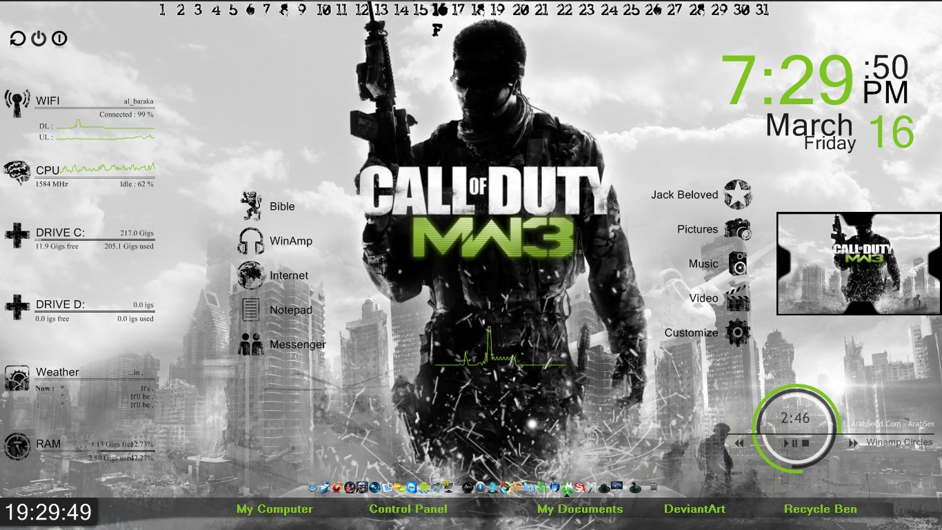 Call Of Duty Modern Warfare 3 Rainmeter skin by freeradical1981