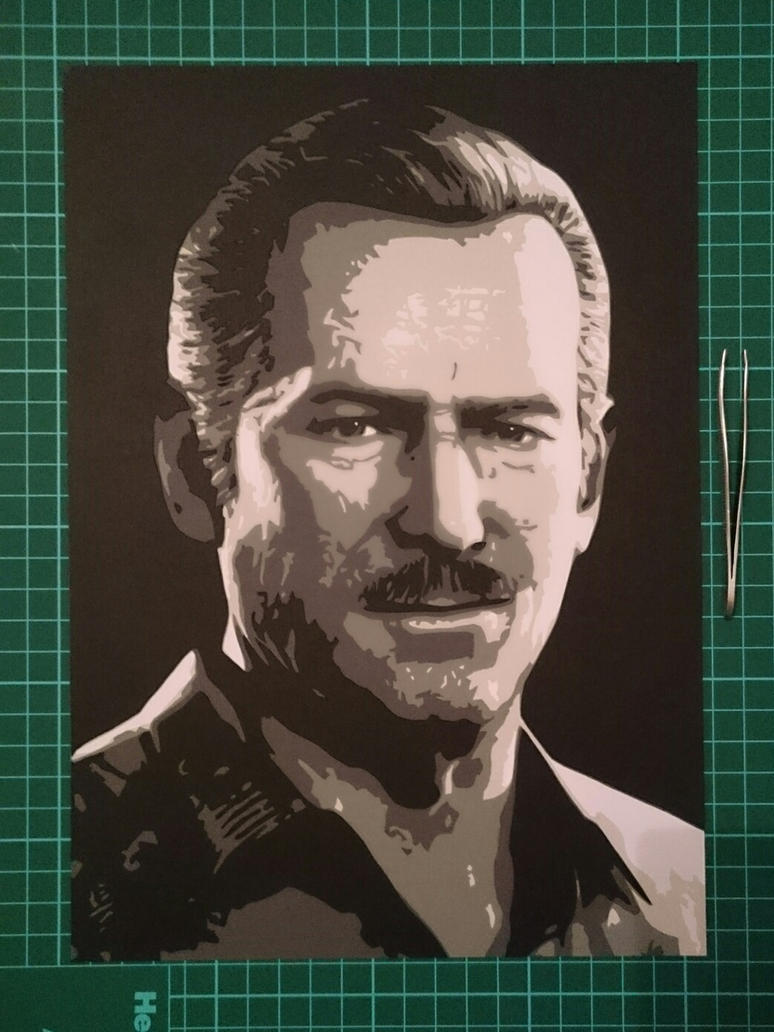 Uncharted Sully Papercut portrait by swiftflik