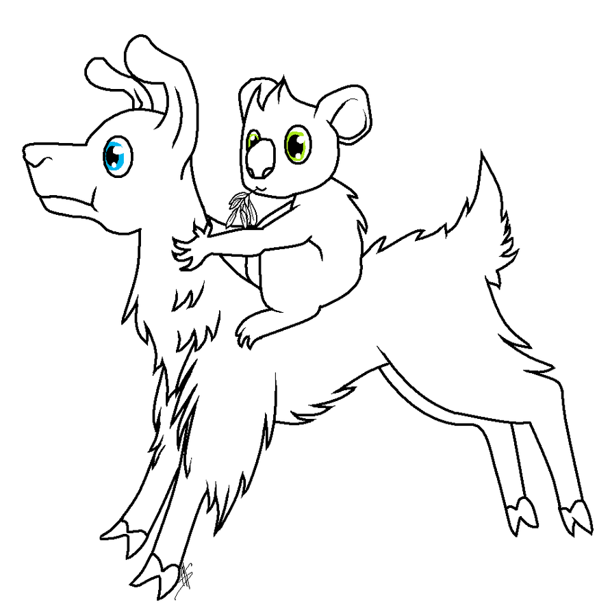 Line Drawing Koala : Llama and koala free lineart by pandaskeeper on deviantart