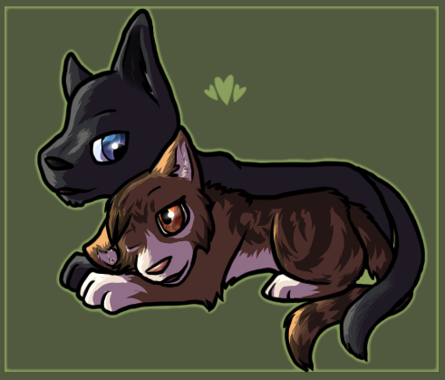 Crowfeather and Leafpool by Pandaskeeper