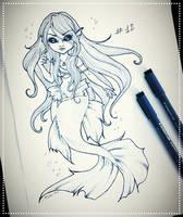 Inktober 12: Spoopy Mermaid by SavanasArt