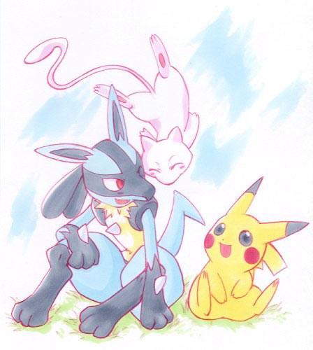 ::Mew-Pikachu-Lucario:: by chibi-tachi on DeviantArt Mew And Lucario