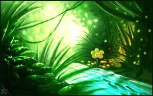 Forest flowey by BelieveTheHorror