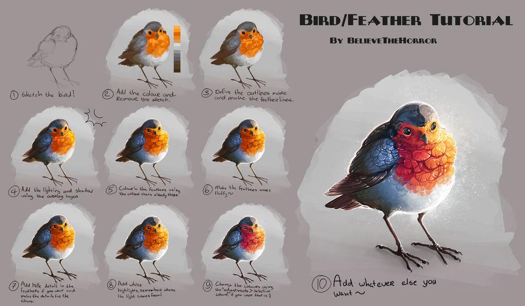 Feather/Bird Tutorial by BelieveTheHorror