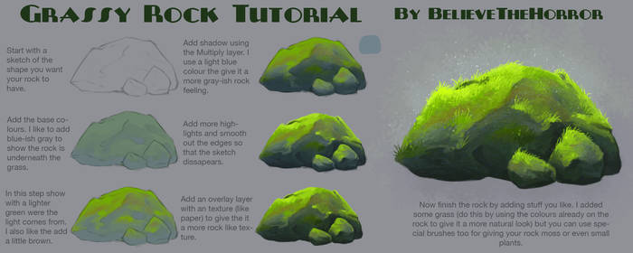 Grassy Rock Tutorial by BelieveTheHorror