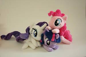 Pinkie, Rarity, Twilight beanies by Yukamina-Plushies