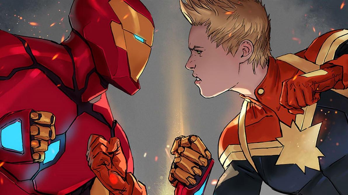 Civil War II Wallpaper Iron Man Vs Captain Marvel By Vampirewiccan