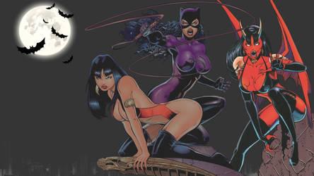 Vampirella, Catwoman and Purgatori Wallpaper