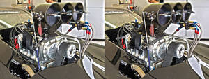 Dragster v8 Engine in 3D (stereoscopic) 3