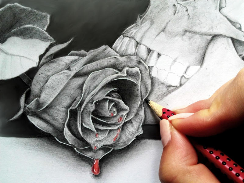 Realistic rose in graphite + new drawing tutorial by AnniePad