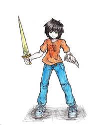 Percy Jackson colored by mikkusushi