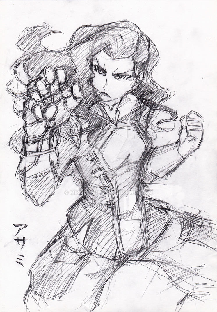Asami rough sketch by RustyArtist