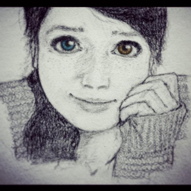Shy Girl Heterochromia Drawing by Eman-Ekaf