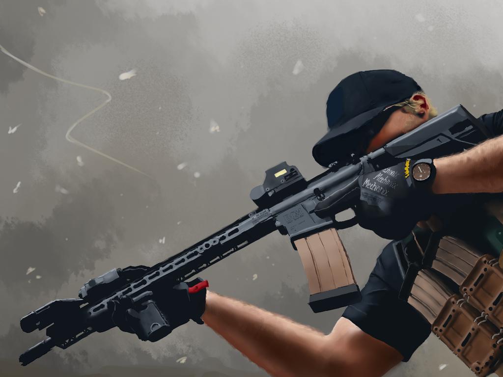 BCM ''Lefty'' Shooter Drawing by Eman-Ekaf