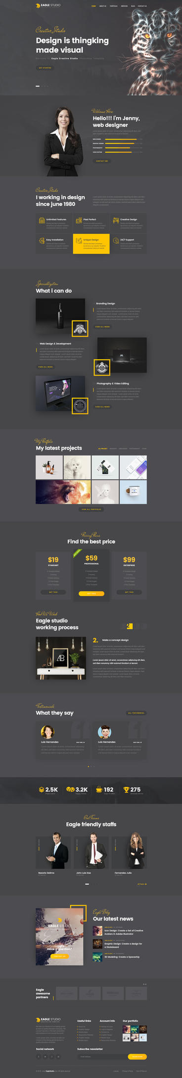 Eagle Studio - Creative PSD Template Dark Version by youwes