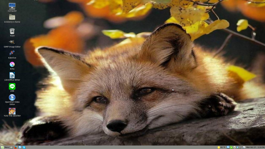Autumn Fox - Linux Mint 17 Desktop by PharaohAtisLioness