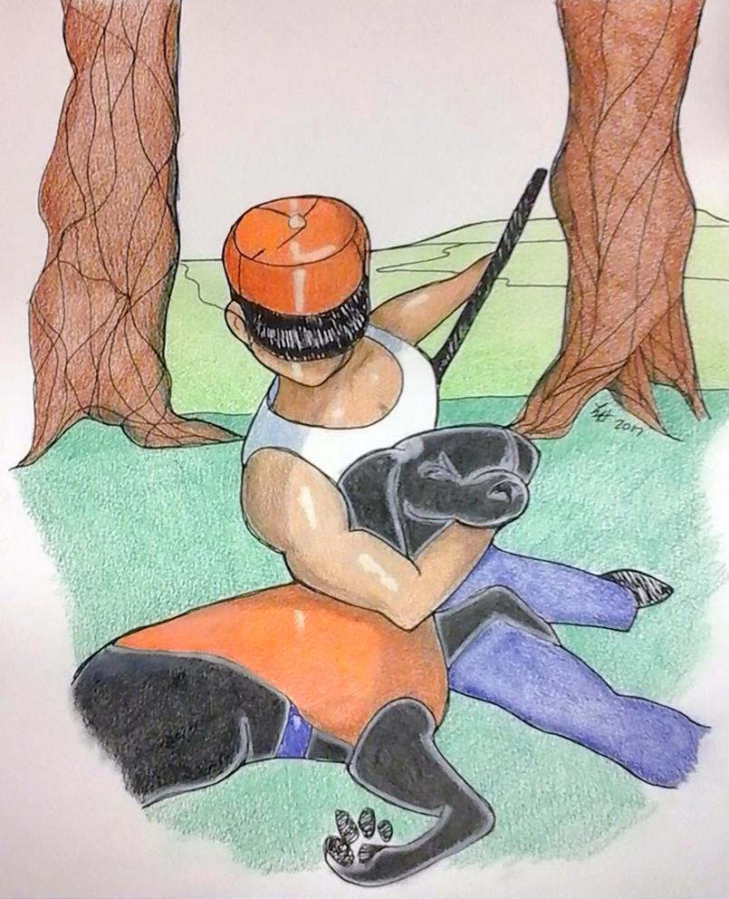Man with dog by loretta-nash