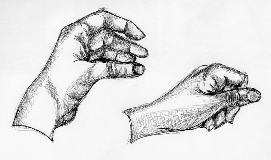 Line Drawing Vs Value Drawing : Contour line drawings hands by aihin on deviantart
