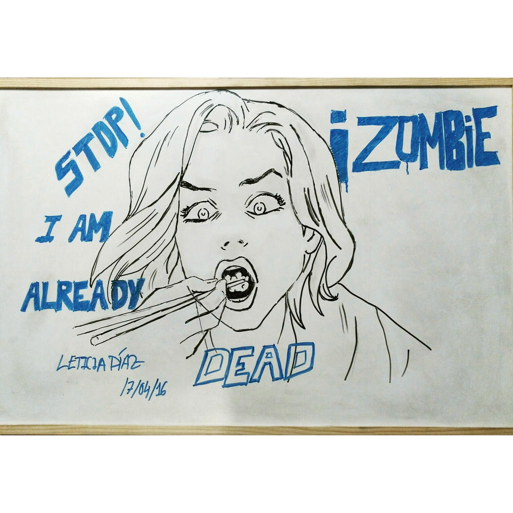 Izombie drawing on a whiteboard by stargazersquirrel on for Easy whiteboard drawings