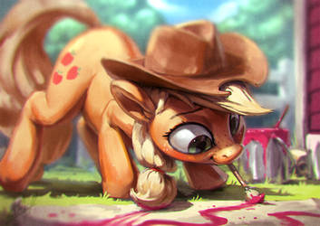 Applejack Painting Paint by AssasinMonkey
