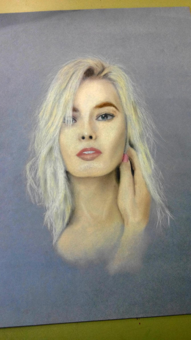 Margot Robbie pastel portrait by KirLinx