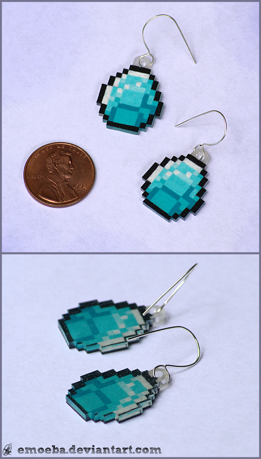 Minecraft Diamond Earrings by Emoeba