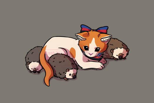 kitten with hedgehogs (ver. 2)
