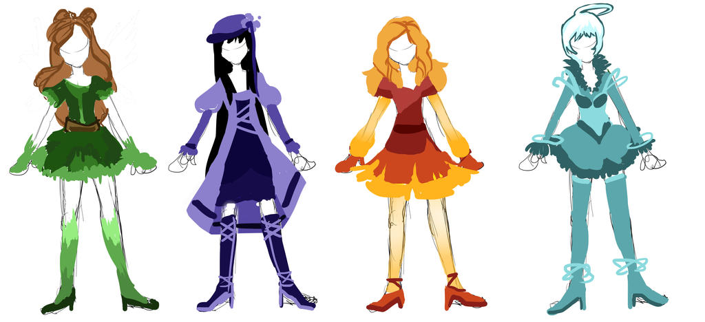 Magical Girl Redesign Sketches by galaxytxt