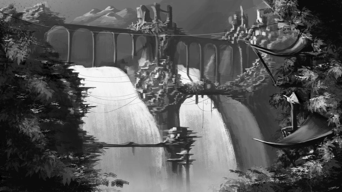 Waterfall Village DesktopBG by ExoHazard