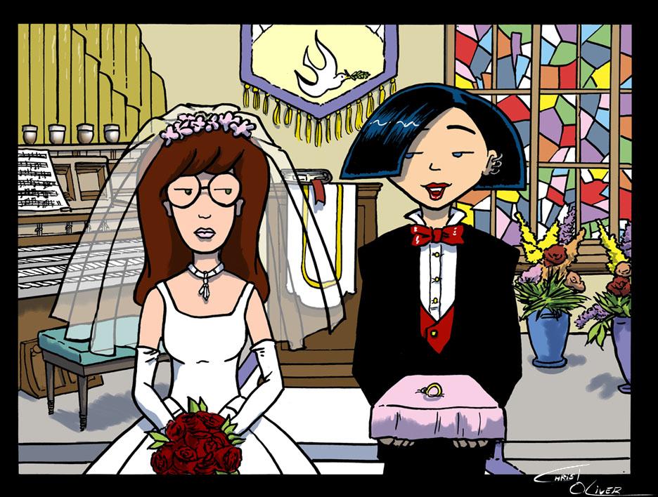 Daria and Jane at the altar