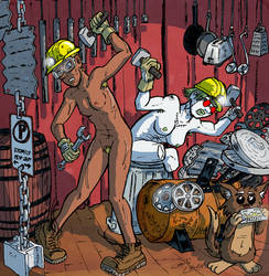 Energie and Autopsie making stomp musics naked by Christo-LHiver