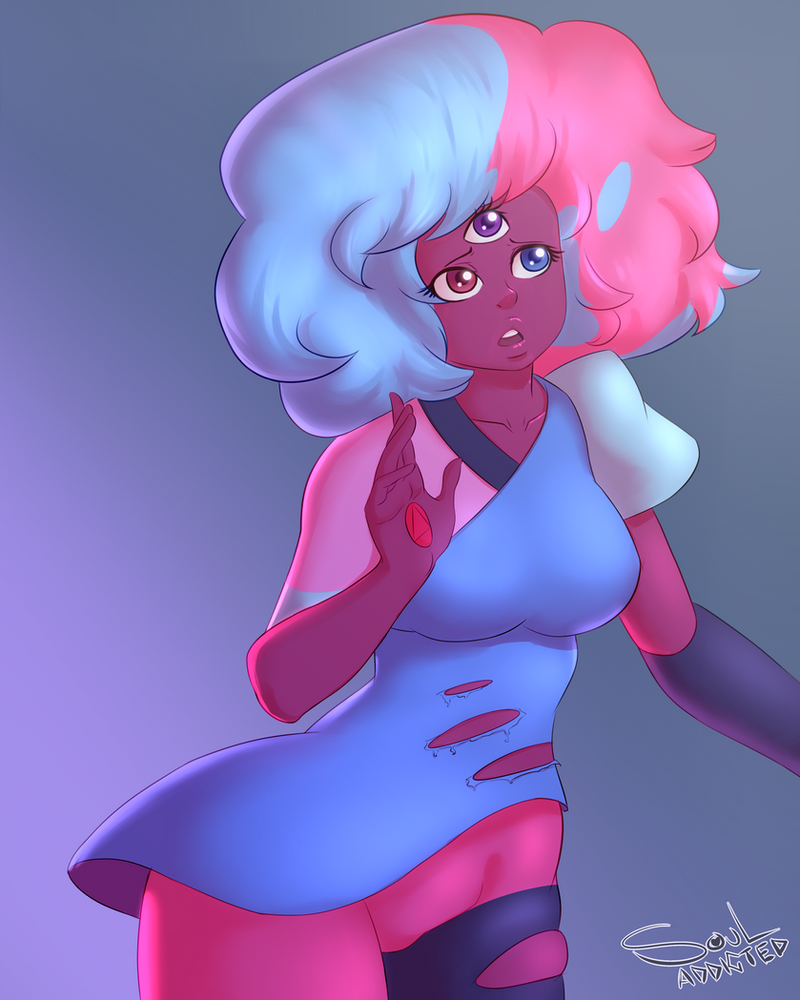 """A little something i did Cuz Steven Bomb 4 OMG """"The Answer"""" was such a beautiful and amazing episode that i couldn't resist drawing that messy haired cute Garnet. souladdicted-art.tumblr.com/"""