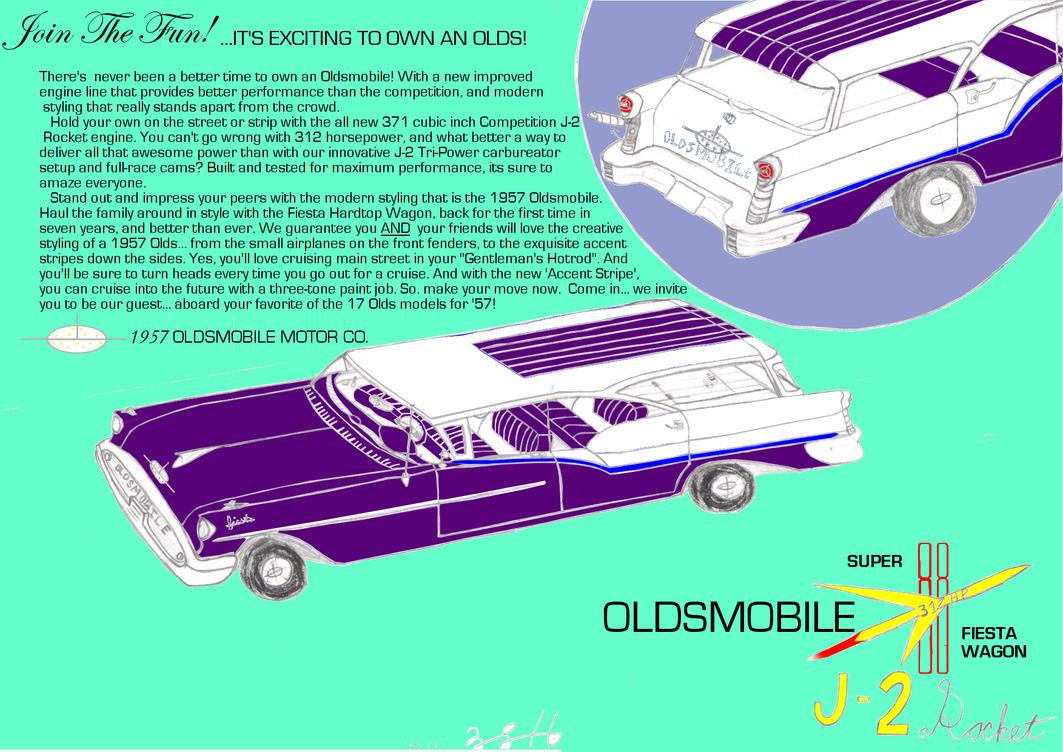 1957 Oldsmobile Fiesta Hardtop Wagon Advertisement by DBsTreasure
