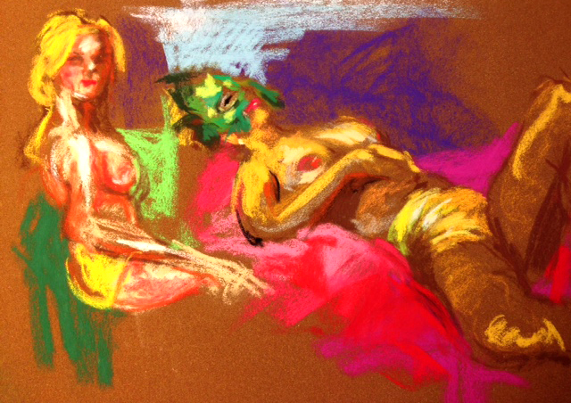 A couple pastel sketches from Reno's Dr. Sketchys by SteveJasper