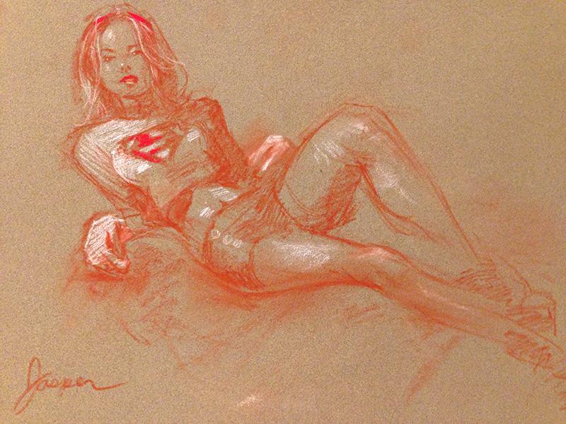 Supergirl at Dr. Sketchys by SteveJasper