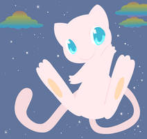 Request - Mew :Rainbow Clouds: by drill-tail