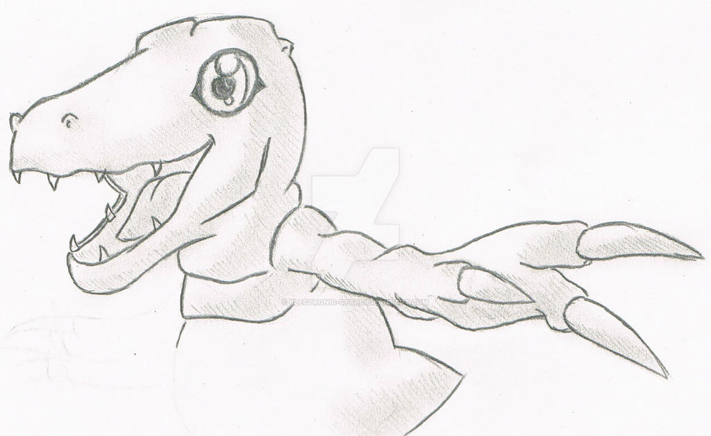 Agumon Redrawn by Electronic-Star