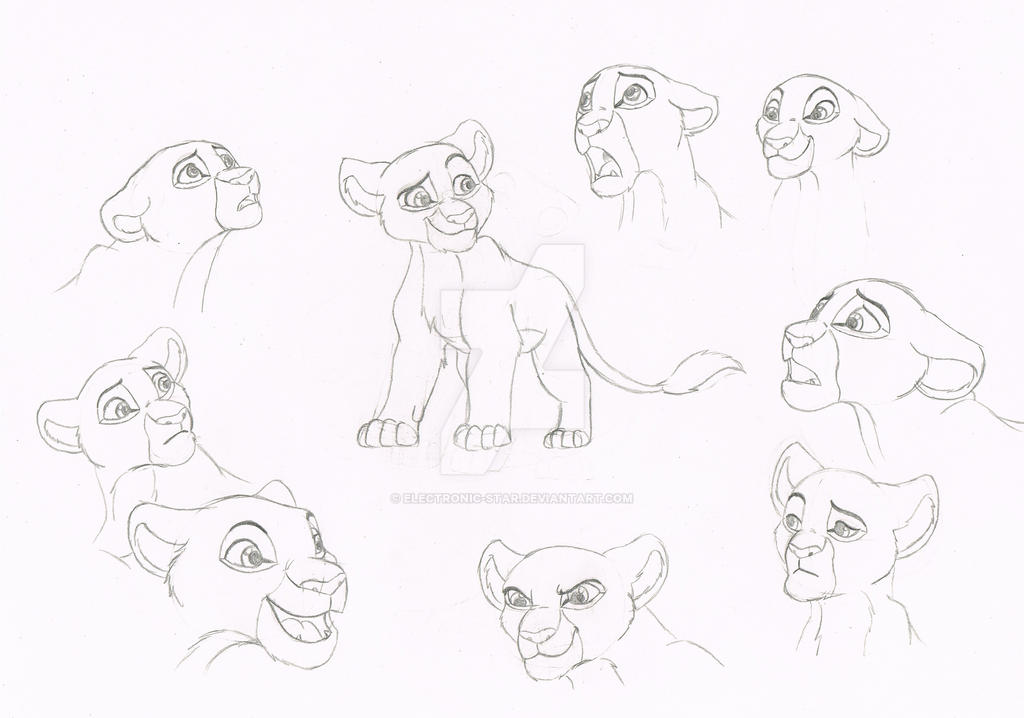 Lilian cub and adult sketches by Electronic-Star