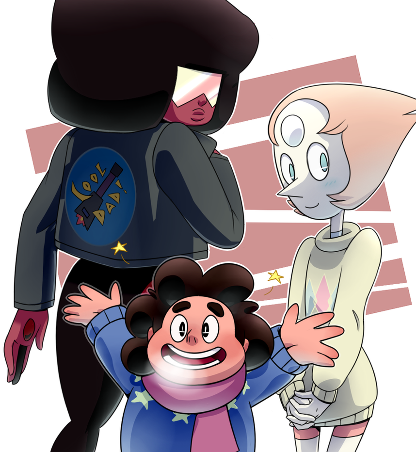 Quick art of Steven and gems akusuru.tumblr.com/post/113814… I don't really like this episode, but that outfits are cute! Also yeah there's no Amethyst but i'll draw her soon too