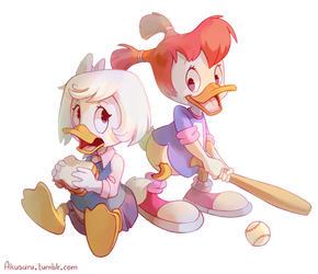 Webby and Gosalyn [+speedpaint] by Akusuru