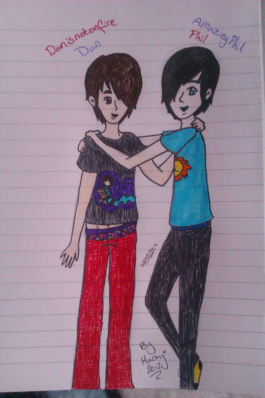 Dan And Phil Kiss Drawing