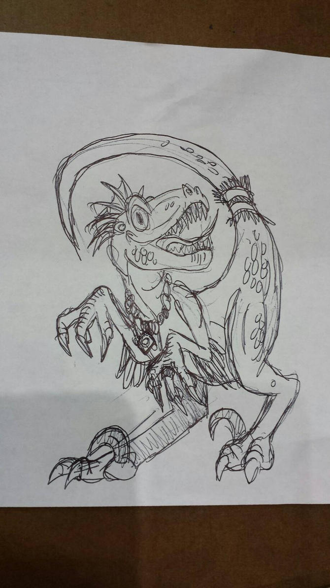 Crested Tribal Raptor Sketch by Tibby101