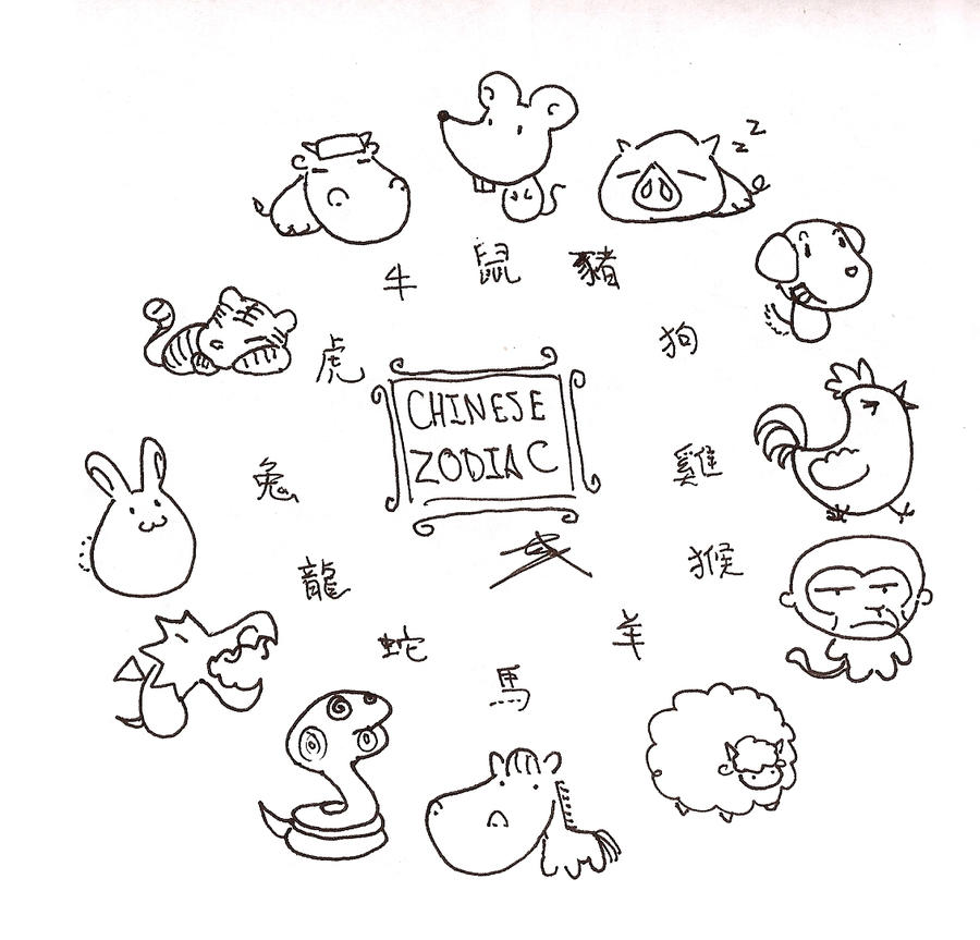 Chinese zodiac by tk36477 on deviantart for Chinese zodiac coloring pages