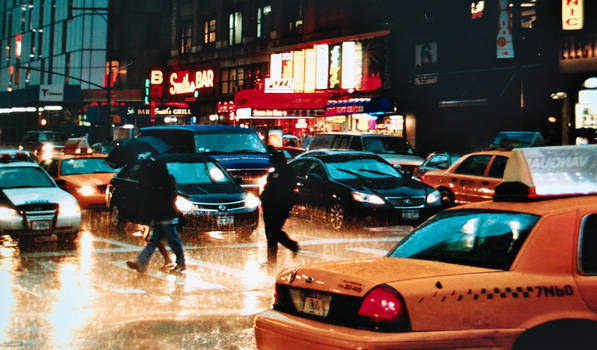 Evening City Rain