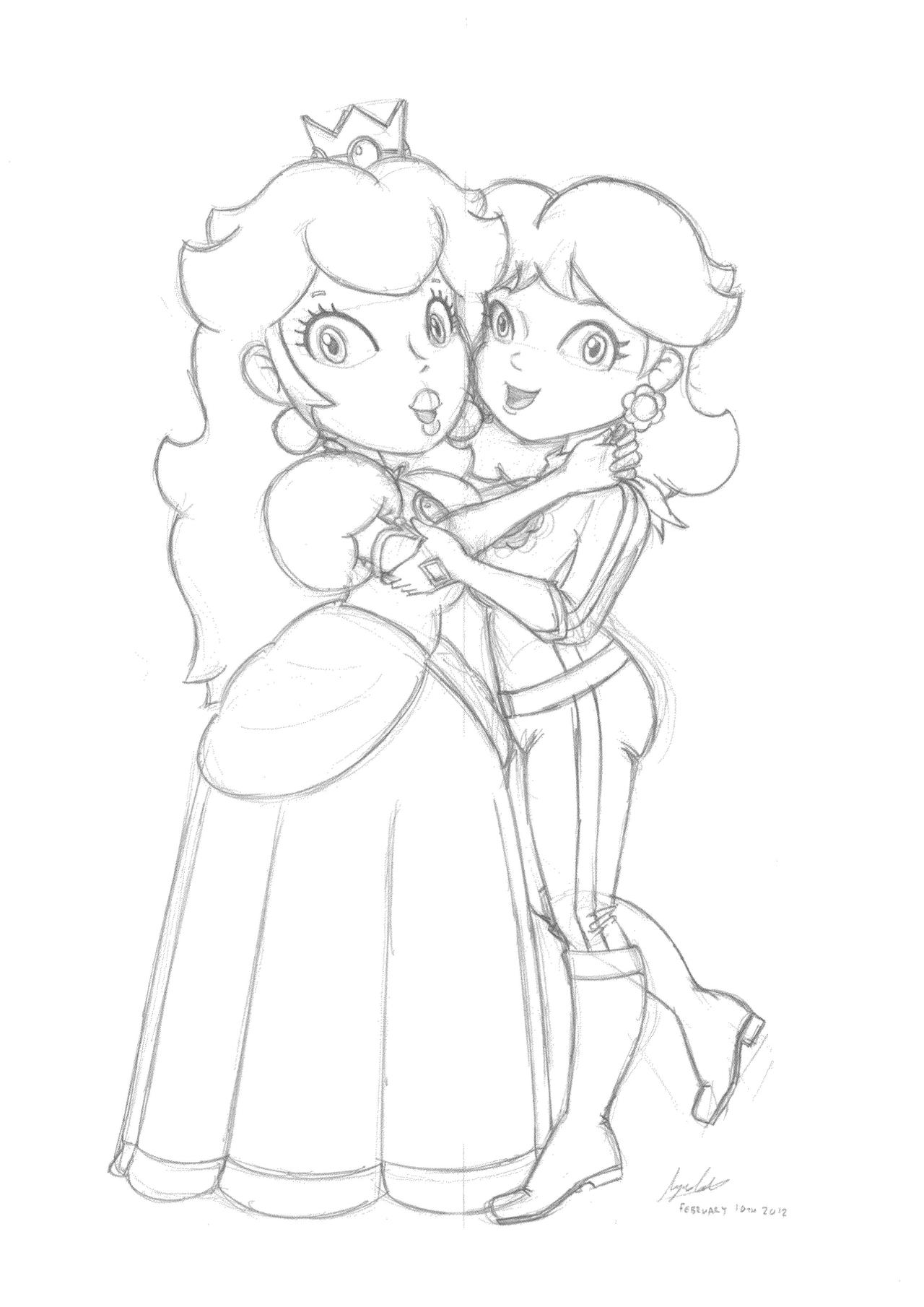 Princess peach coloring pages to print - Princess Peach Coloring Pages Games Princess Daisy Coloring Pages To Print Peach Hugging Daisy Sketch