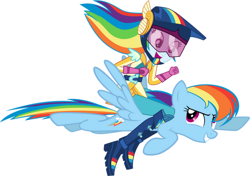 Rainbow Dash riding Rainbow Dash