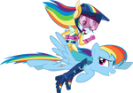 Rainbow Dash riding Rainbow Dash
