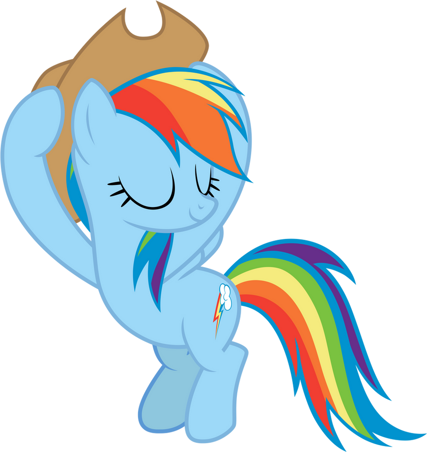 Rainbow wearing AJ's hat by FamousMari5